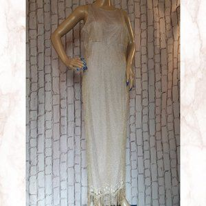 Made In Canada Formal Plus Gown Gold Fringe Monroe